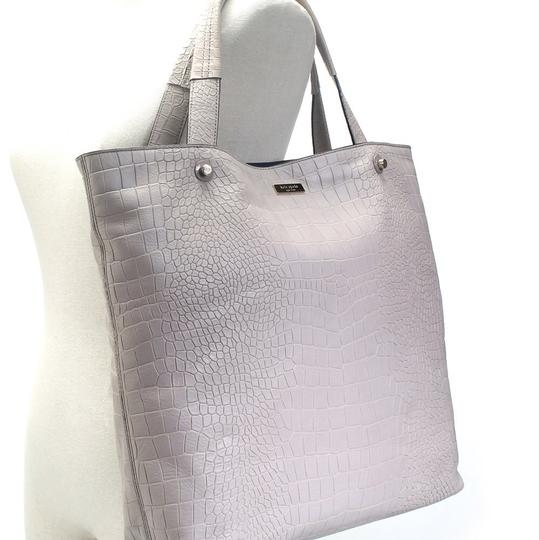 Kate Spade Croc Embossed Leather Tote in Gray
