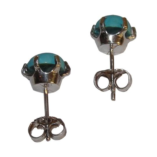 Vintage Sterling Silver and Turquoise Cabochon Stud Earrings
