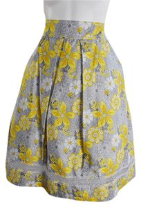 Lisa Nieves Lace Trim Floral Lace Prom Formal Skirt yellow grey white