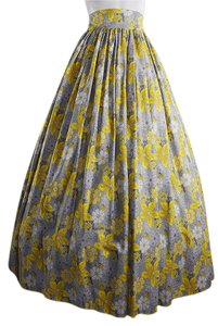 Lisa Nieves Ball Gown Floral Formal Prom Maxi Skirt yellow grey white
