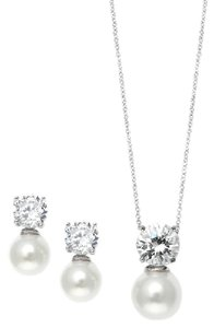 Mariell Silver Cubic Zirconia with Pearl Solitaire Necklace Earrings 3508s Jewelry Set