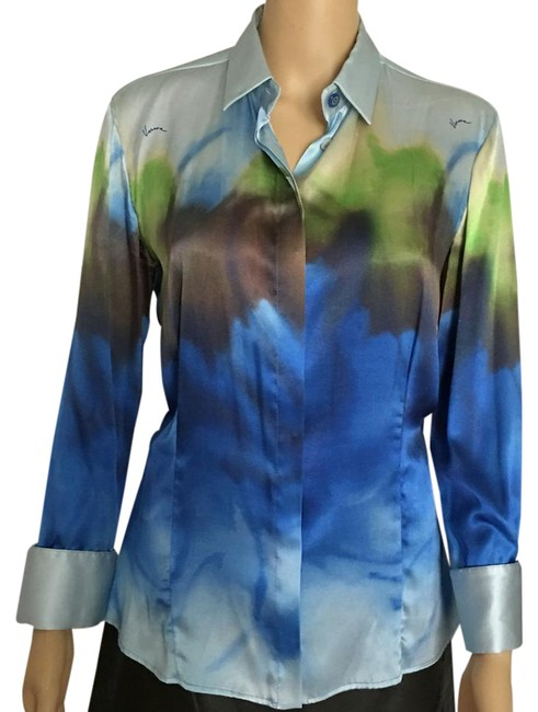 Preload https://item5.tradesy.com/images/versace-blue-and-green-blouse-size-4-s-21563074-0-1.jpg?width=400&height=650
