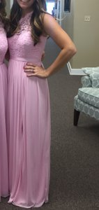 David's Bridal Tickled Pink Lace and Mesh Style Number F17063 Formal Bridesmaid/Mob Dress Size 4 (S)