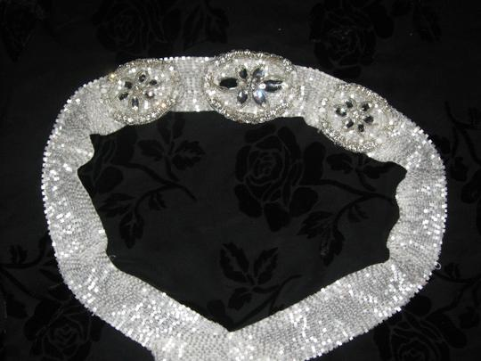 Other Bridal Belt with white beads and flower rhinestone design (Les-4)
