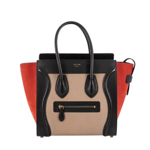 Celine Tote in taupe and black leather with red