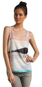 Patterson J. Kincaid Watercolor Seasaw Printed Back Top Blue and Pink