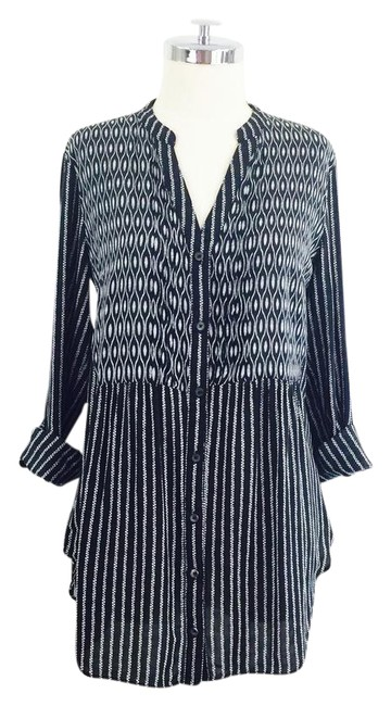 Preload https://img-static.tradesy.com/item/21563617/maeve-black-stripe-printed-rolled-sleeve-blouse-button-down-top-size-10-m-0-1-650-650.jpg