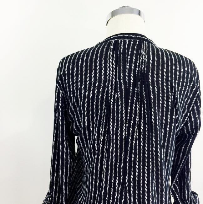 Maeve Stripe Printed Rolled Sleeve Button Down Shirt Black