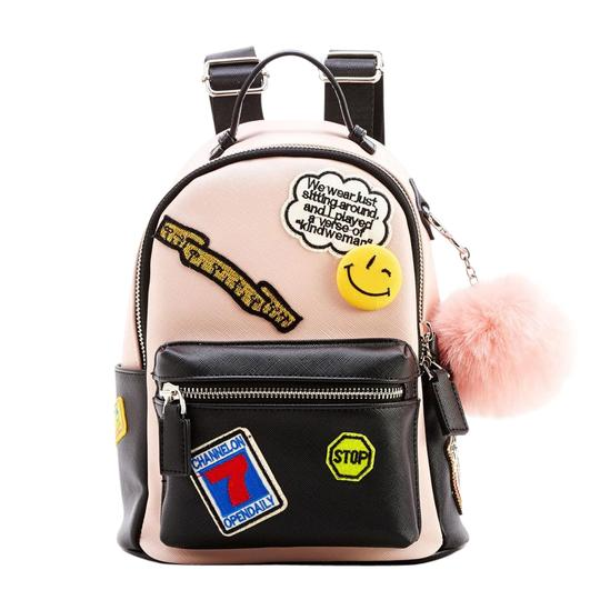 Preload https://img-static.tradesy.com/item/21563653/marionette-medium-pink-and-black-vegan-leather-backpack-0-1-540-540.jpg