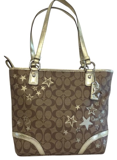 Preload https://item4.tradesy.com/images/coach-signature-heritage-star-print-goldtote-brown-gold-canvas-tote-21563658-0-1.jpg?width=440&height=440