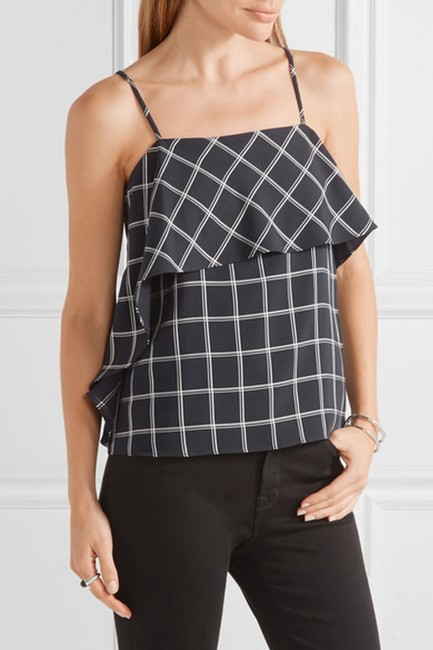 Elizabeth and James Lined Top Navy/White