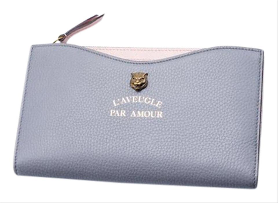 dd5ca7175d5c Gucci Gucci Womens Pink & Gray Animalier Travel Document Case Clutch Image  0 ...