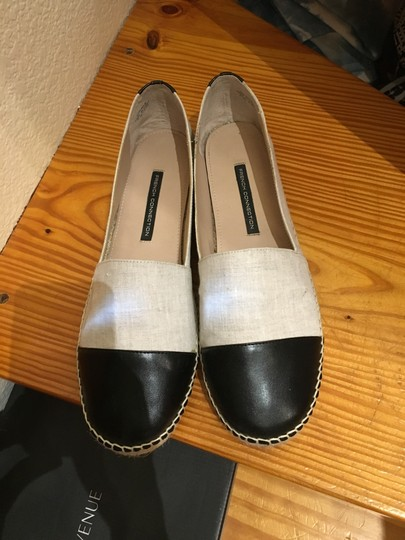 French Connection Leather Jute Espadrille Slides Off White / Black Flats
