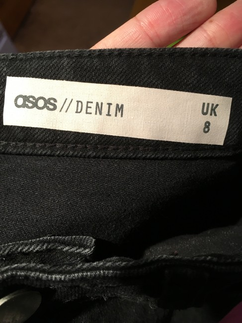 ASOS Festival Trendy Classic Faded Denim Skirt Washed Black / Vogue Black