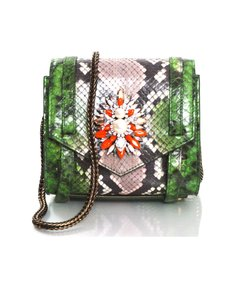 Shourouk Python Exotic Crystal Neon Shoulder Bag