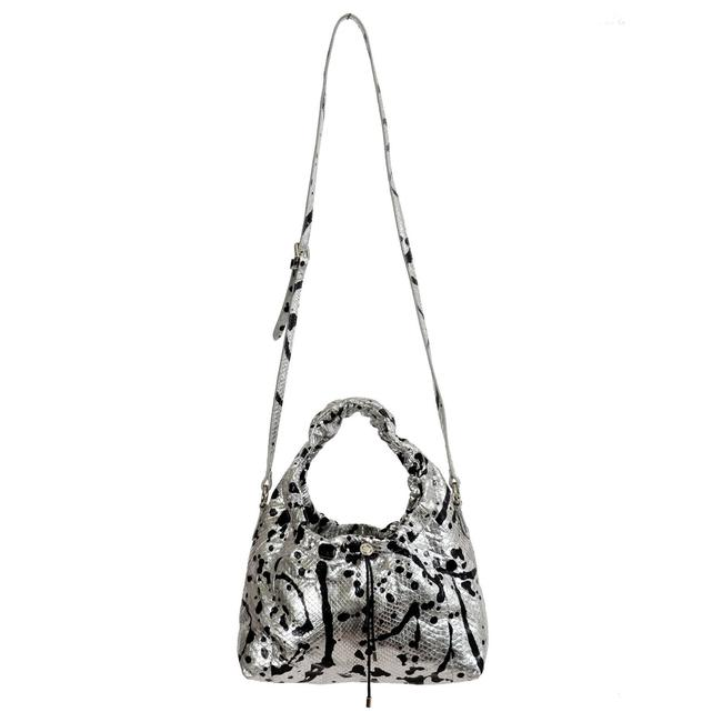"Maison Margiela ""11"" Women's Sparkle Handbag Shoul Silver / Black Python Skin Leather Shoulder Bag Maison Margiela ""11"" Women's Sparkle Handbag Shoul Silver / Black Python Skin Leather Shoulder Bag Image 1"