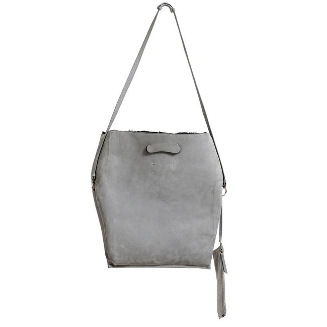 "Item - ""11"" Women's Handbag Shou Gray Suede Leather / Sherling Shoulder Bag"