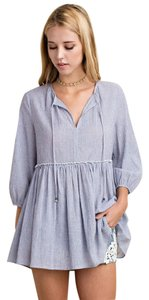 ee:some Spring Summer Babydoll Peasant Flirty Tops Top Blue