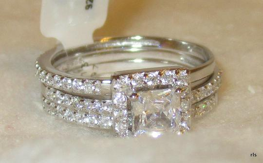 rlss Sterling Silver Princess Simulated Diamond 3 Band Wedding Set