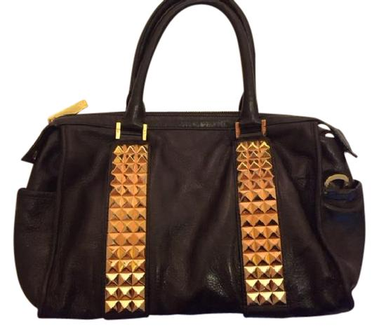 Preload https://item3.tradesy.com/images/tory-burch-studded-black-with-gold-hardwear-leather-satchel-21564327-0-4.jpg?width=440&height=440