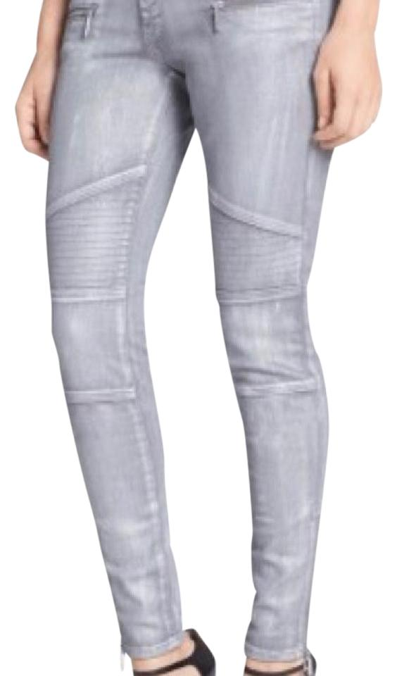 f3dc0670521 Michael Kors Silver Coated Moto Skinny Jeans. Size  24 ...