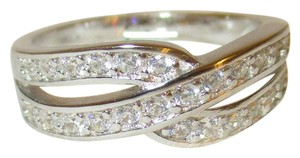 rlss 925 Sterling Silver 20 Stone Simulated Diamond Crossover Ring Size 8