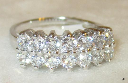 rlss 925 Sterling Silver 14 Stone MARQUIS CUT Simulated Diamond Ring Size 8