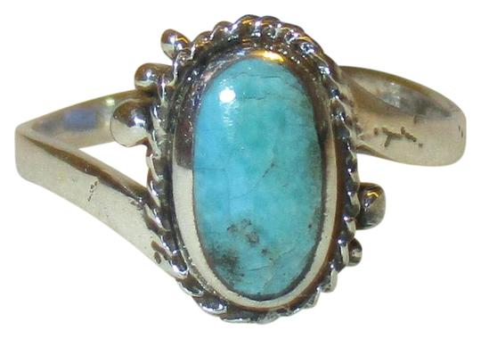 rlss 925 Sterling Silver OVAL CUT Natural Turquoise Celtic Ring Size 8