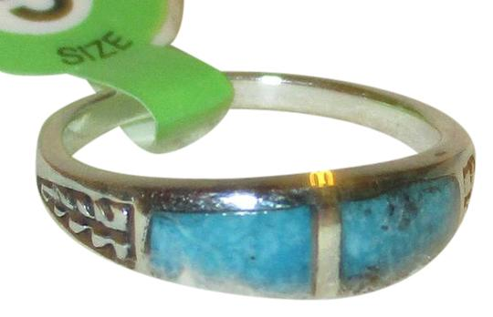 rlss 925 Sterling SiLVER 2 PIECE Natural Turquoise BAND Ring Size 8