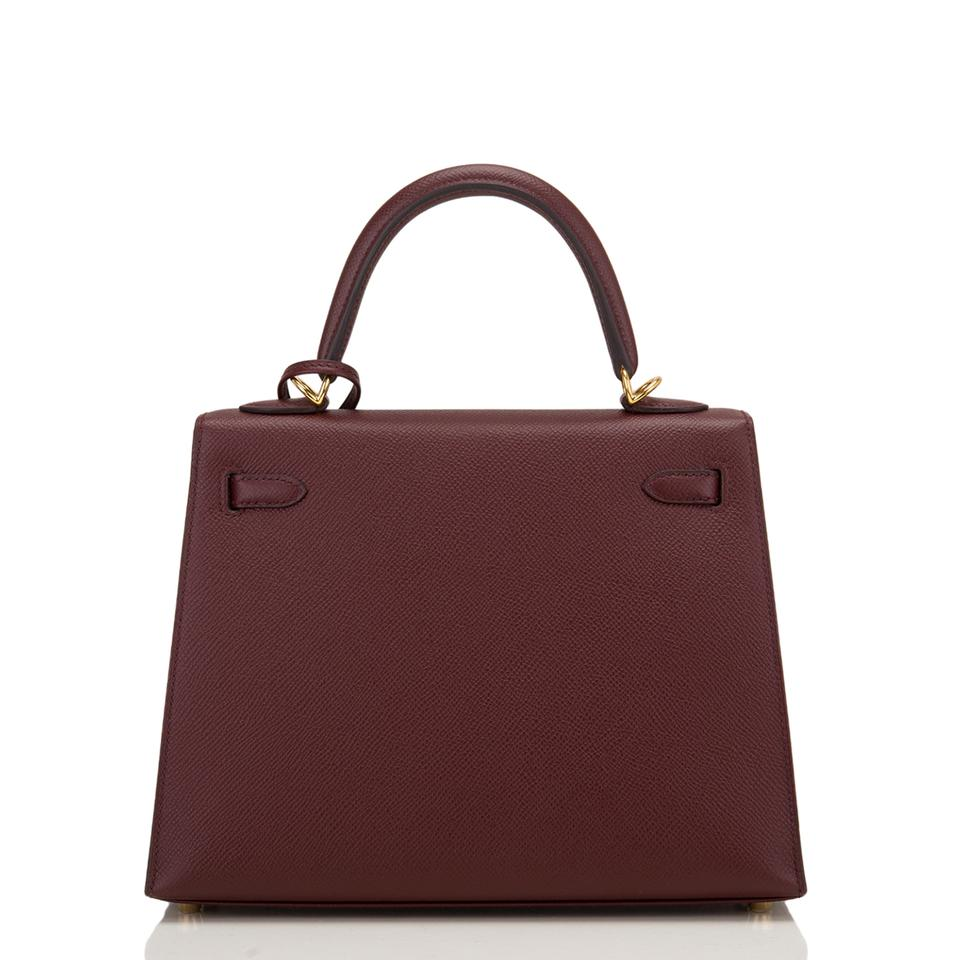 bb48546e8ab6 Hermès Kelly Epsom Sellier 25cm Gold Hardware Bordeaux Red Leather ...