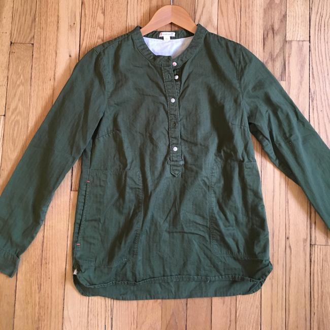 J.Crew Button Front Longsleeve Cotton Popover Mandarin Collar Button Down Shirt Olive Green