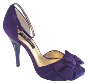 Nina Shoes Purple Open Toe Bow Ankle Strap Grape Formal