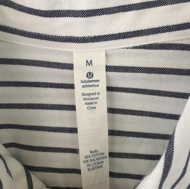 Lululemon Men's Oxford Striped Button Down Shirt white
