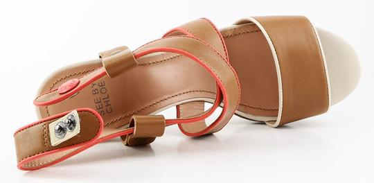See by Chloé Pink Platform Leather Open Toe Tan Sandals