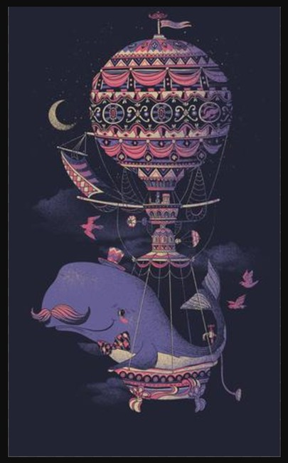 Fuzzy Ink Mustache Whale Nautical Baloon V-neck T Shirt navy