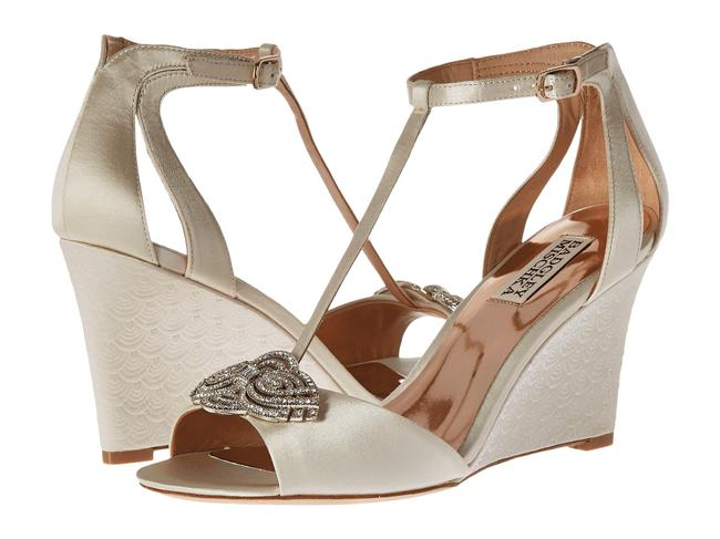 Item - Ivory Nedra Satin T-strap Wedge with Crystal Accent Wedding Formal Shoes Size US 10 Regular (M, B)