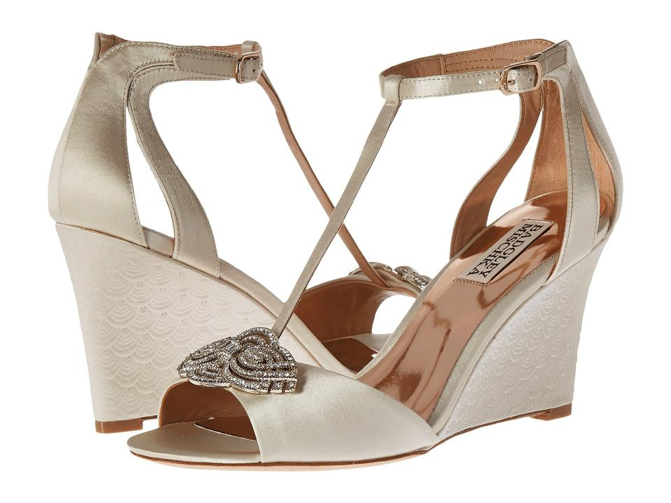 Badgley Mischka Ivory with Nedra Satin T-strap Wedge with Ivory Crystal Accent Wedding Formal Shoes f4fdfd