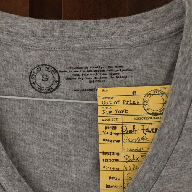 Out of Print Book Lover Bibliophile Sexy Librarian V-neck Nerd T Shirt grey