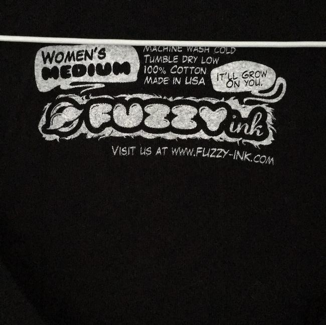 Fuzzy Ink V-neck Funny Sweetheart Hand-printed T Shirt black