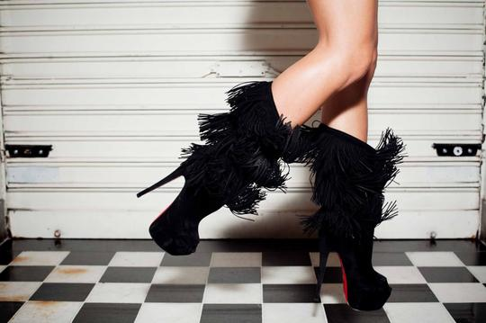 Christian Louboutin Pigalle Strass Thigh High Ankle Knee High Black Boots