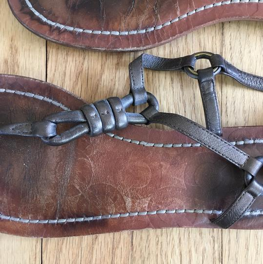 Coach Leather Thong Embossed Bronze, Brown, Tan Sandals