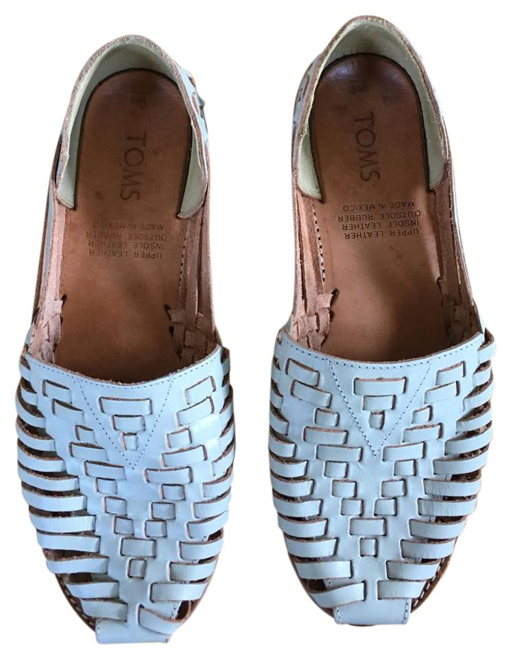 809395fc1bac5 TOMS Off-white Ivory Woven Leather Huaraches Flats Size US 9 Regular ...