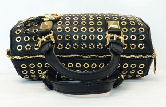 MICHAEL Michael Kors Grayson Leather Grommets Satchel in Black