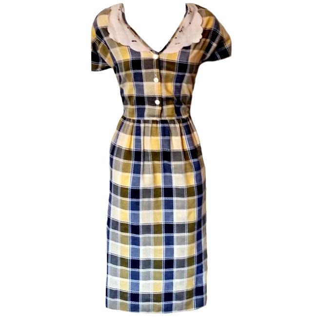 Vintage short dress blue 70s 1970s Retro Plaid on Tradesy