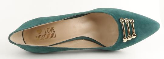 Love Moschino Pointed Toe Suede Heels Sage Green Pumps