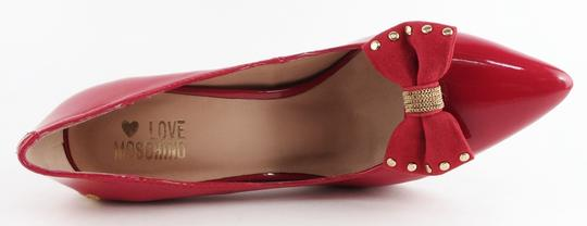Love Moschino Bow Pointed Toe Patent Leather Rosso Red Pumps
