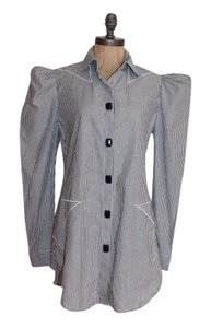 BCBGMAXAZRIA Striped Rhinestone Star Bcbg Tunic Button Down Shirt GRAY WHITE