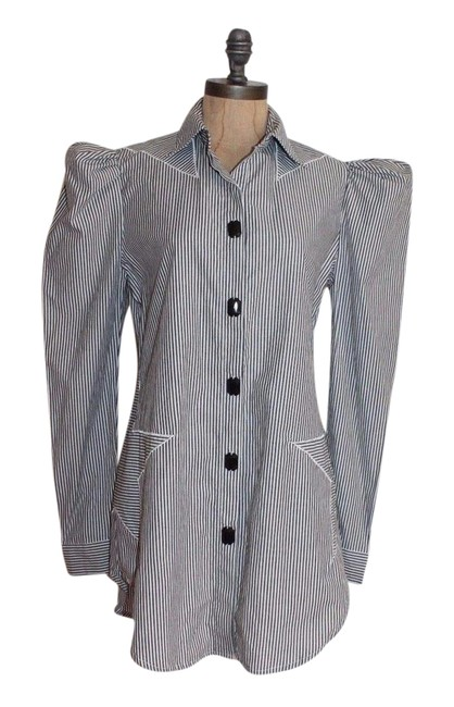 Preload https://item5.tradesy.com/images/bcbgmaxazria-gray-white-striped-button-down-top-size-6-s-21565154-0-1.jpg?width=400&height=650
