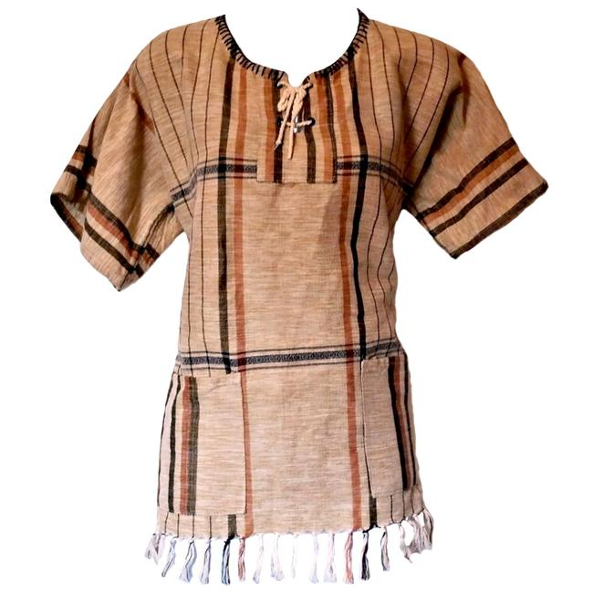 Preload https://item5.tradesy.com/images/brown-fringe-woven-fringed-tan-beige-laces-festival-boho-tunic-size-10-m-21565209-0-2.jpg?width=400&height=650