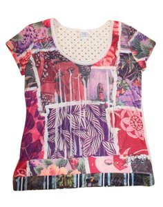 Desigual Printed Trim Sparkle T Shirt MULTI